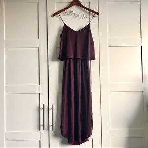 Purple Curved Hem Midi Dress